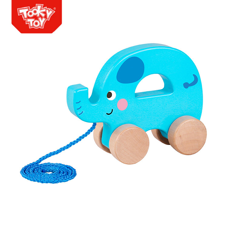 Animal String Toy Wooden Pull Along Elephant