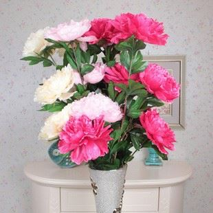 3 Head spring and Peony silk flowers artificial flowers Wedding Bouquet China Manufacture