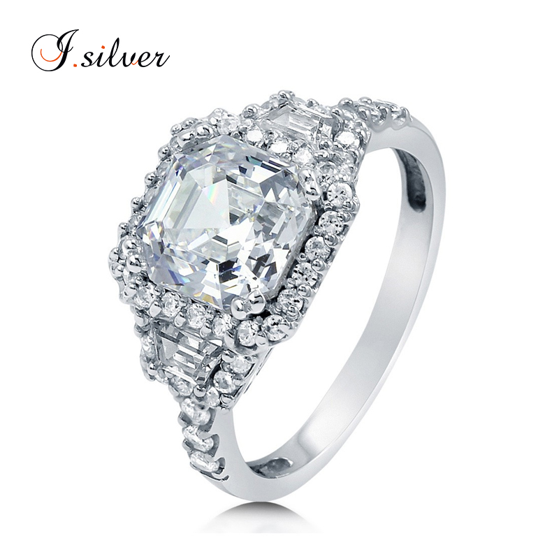 Wholesale 925 sterling silver diamond asscher CZ halo art deco wedding rings R500224