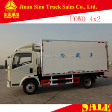 china howo 4x2 small refrigerator van truck for meat and fish