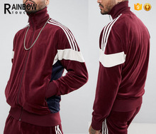Plain custom blank long sleeve velour tracksuits men with Contrast panels
