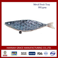 New Design Fish Shaped Metal Decorative Fruit Tray