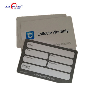 Offset Printing Plastic Warranty Card With Signature Panel