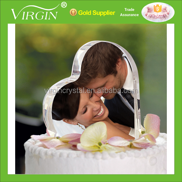 Wholesale cheap heart shape crystal cake topper with photo for wedding favor