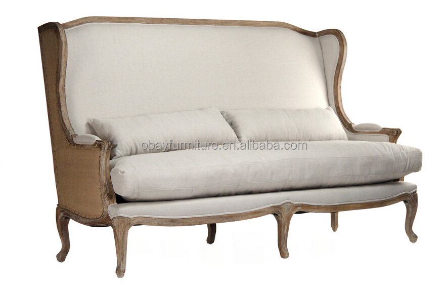 franz sisch land hohe r ckenlehne leinen sofa esszimmer franz sisch provinz holz stoff sofa. Black Bedroom Furniture Sets. Home Design Ideas
