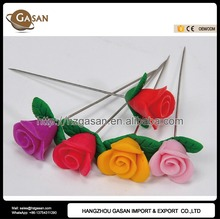 Unique Fimo Clay Rose Flower Hijab Pins For Dresses