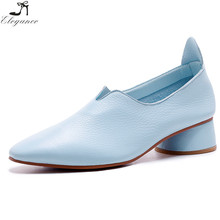 new products baby blue real leather ladies point toe breathable soft circular cone chunky high heel casual dress shoes for women