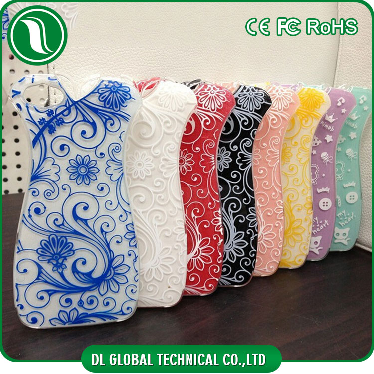 Chinese style blue and white porcelain phone cover case night luminous cheongsam design case for iphone 5s/6s plus