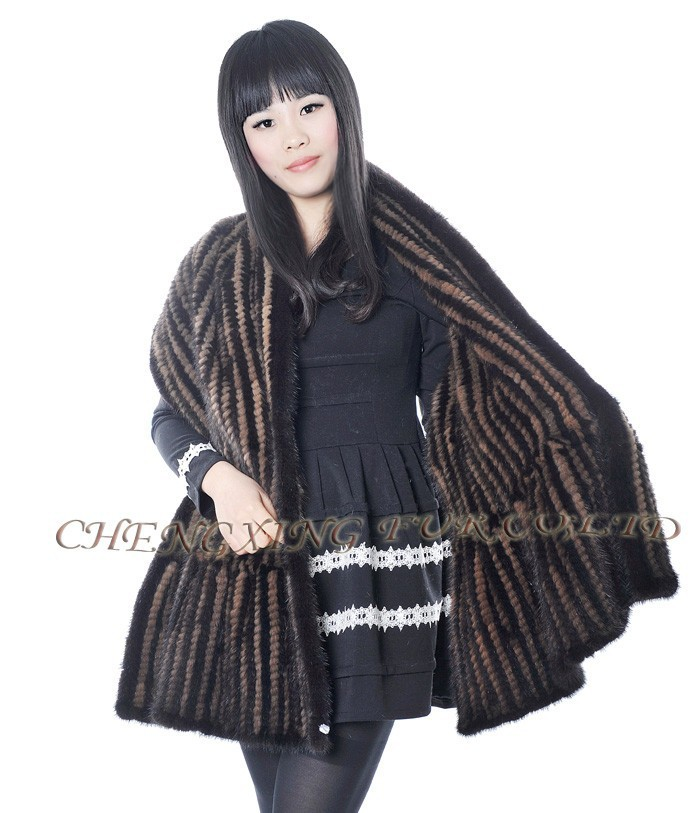 CX-B-<strong>M</strong>-<strong>103</strong> Latest Fashion Design Shawl Hand Knitted Mink Fur Shawl And Stole