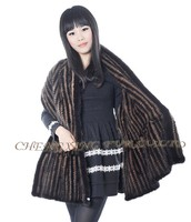 CX-B-M-103 Latest Fashion Design Shawl Hand Knitted Mink Fur Shawl And Stole