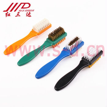 Plastic double side suede shoe brush with brass (1209-PT)