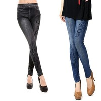 Women's Musical Note Pattern sexy ladies jeans tight jeans women pants 7933