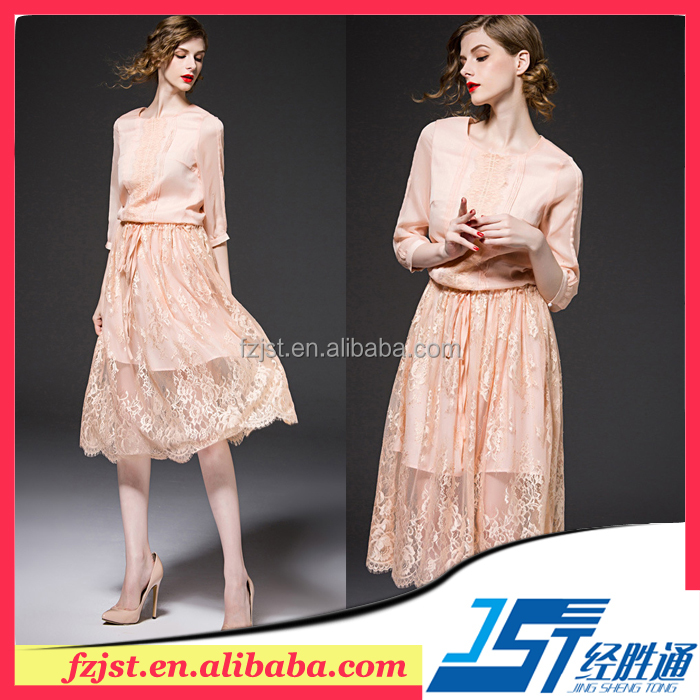 Comfortable loose long sleeves casual lace dress cheap