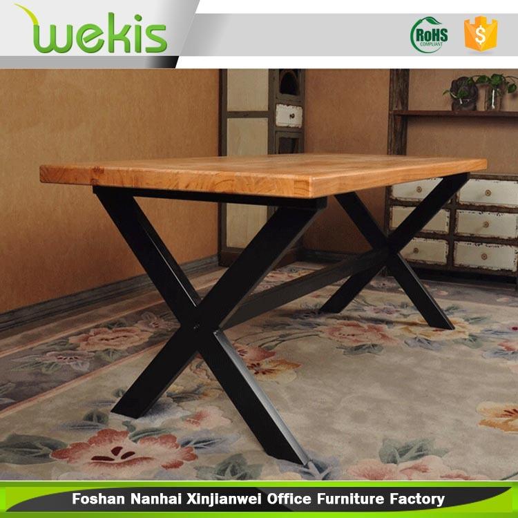 Industrial real wood table metal table loft style buy - Table basse metal industriel loft ...