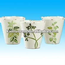 Hand made white clay pots terracotta