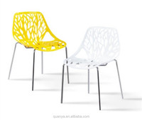 Classic plastic birch sapling chair with metal base stackable dining chairs