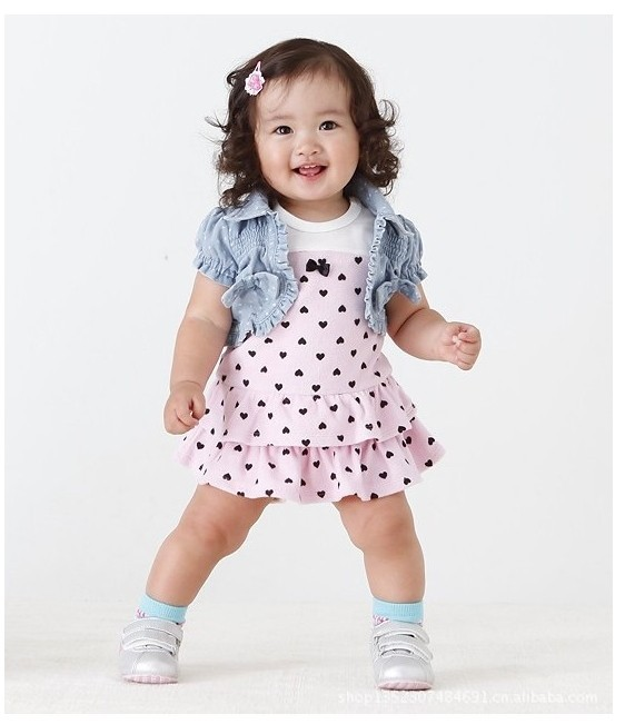 2014 New Arriving Baby Girls Summer Clothing Sets : Cake Dress+Vest 2 pcs/set  For 6-24 Months Baby Wear Dot Denim Baby Suits