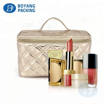 Large make-up Organizer rose gold cosmetic Storage bag with mirror
