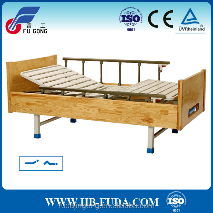 China used 2 cranks solid wood hospital bed furniture