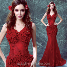 Sexy Red Wedding Gowns V Neck Bridal Gown Mermaid Tail Wedding Dress Bridal Gown