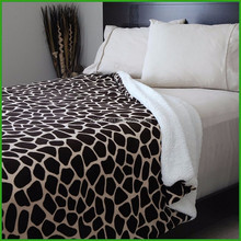 Animal Printed design Coral Fleece /Flannel Fleece with Sherpa Blanket