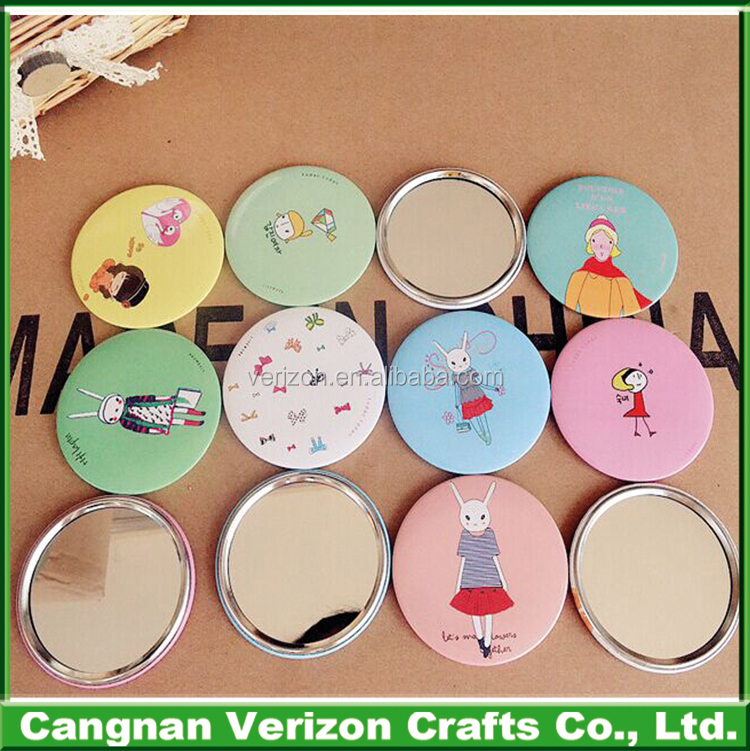 Custom made round mini novelty Advertising gifts tinplate pocket decorative mirror