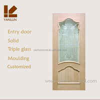 alibaba china red walnut veneer mdf interior frosted glass bathroom door