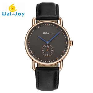 WJ8006 Dropshipping Two Needle Half Small Dial Working leather Band Watches Men Luxury