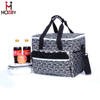 Top quality polyester and leather zebra-stripe lunch cooler bag