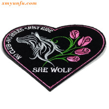 Wolf Patch Embroidered Heart Patches Textile Embroidery Patch