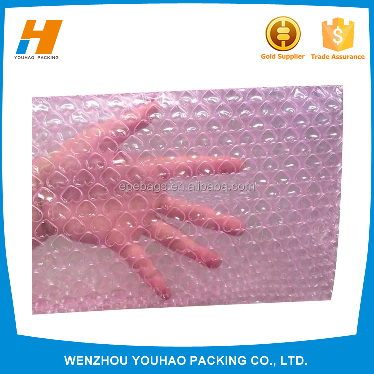 Factory price inflatable anti-electricity heart-shape bubble film bag for <strong>protective</strong>