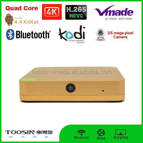 Newest Allwinner H3 google android 4.4 quad core smart tv box with web cam