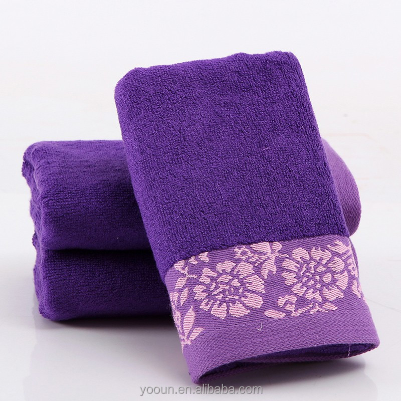 Three color purple 30% <strong>cotton</strong> 70% bamboo fiber 34 * 73 115g Spot towel