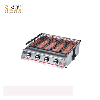 SC-25 High quality commercial professional outdoor four heads Gas BBQ grill with high temperture glass