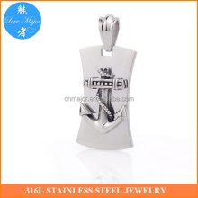Stainless steel mens accessories antique silver anchor pendant MJKP-240