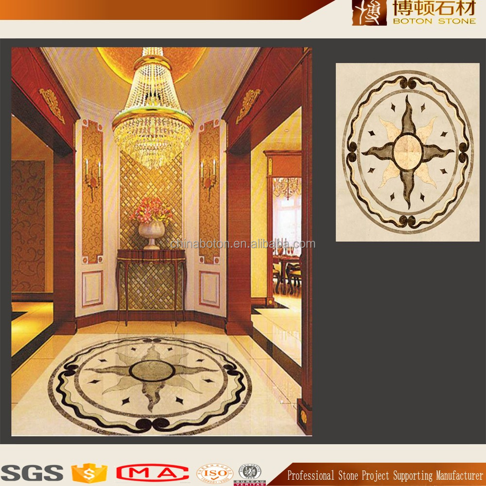 lobby natural stone medallion patternborder for wall, marble flooring border designs, water jet mosaic tile