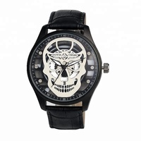 cool skull wrist skeleton watch leather band