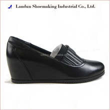 B3688-502 Chengdu unisex leather hidding wedge platform casual shoes round toe shoe