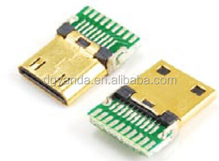 Mini hdmi c type male solder cable connector with pcb