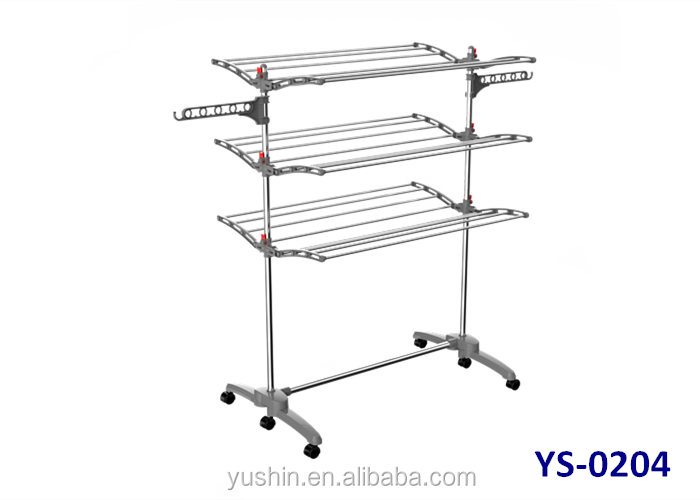 Stainless steel heavy duty 3 tier drying rack for clothes