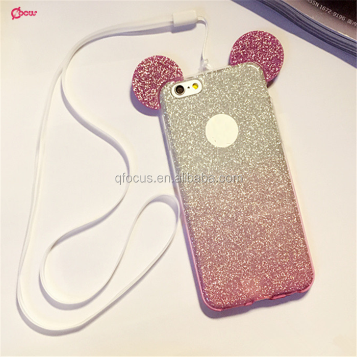 Hot Sale Fashion 3D Mickey mouse Case For iPhone6 6s 6plus 6splus Rhinestone ears Soft Transparent TPU Glitter phone <strong>cover</strong>
