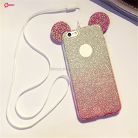 Hot Sale Fashion 3D Mickey mouse Case For iPhone6 6s 6plus 6splus Rhinestone ears Soft Transparent TPU Glitter phone cover