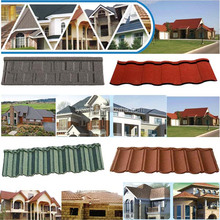 Low Cost Stone Chip Coated Metal Roof Tiles / Aluminum Zinc Galvanized Steel Roof Tiles / Colorful Stone Coated Roofing Shingles