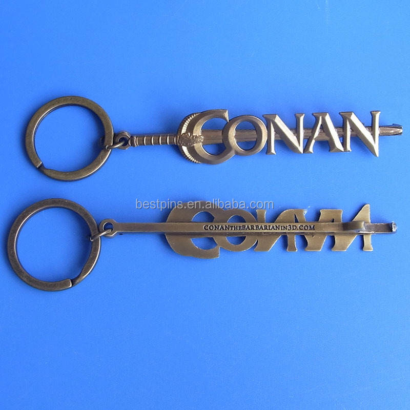 vintage sword bottle opener keychain Conan key chain with bottle opener custom design metal key ring