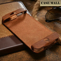 Hot sell fashion Genuine leather 4.7 inch flip credit card case with card slot and handle hard shell cell phone case