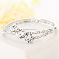Fashion latest stylish design geometry women diamond bangle bracelet