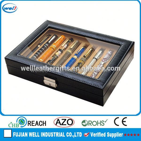 10pcs luxury synthetic leather pen display case