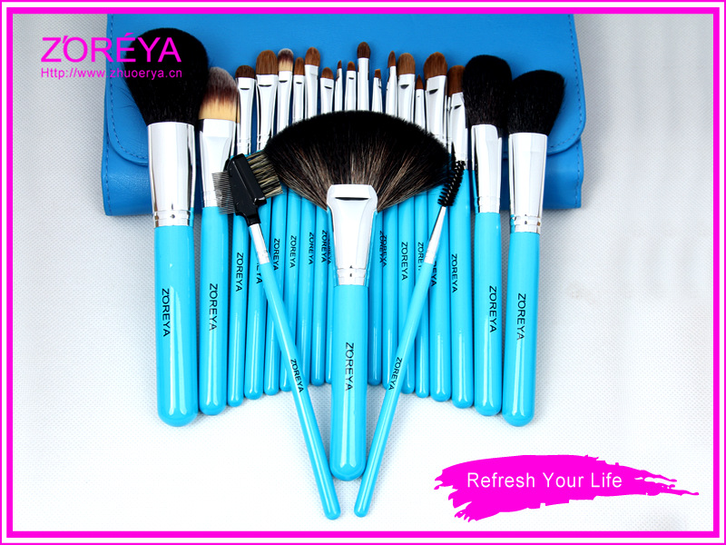 Stock Wholesale 24pcs Custom Logo Zoreya Goat Hair Best Professional Cosmetic Kit Makeup Brush Set