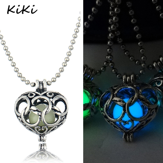 >>>Hollow Out Glowing Small Heart Pendant Necklace Silver Chain Luminous Necklace For Pretty Girl Gift Jewelry