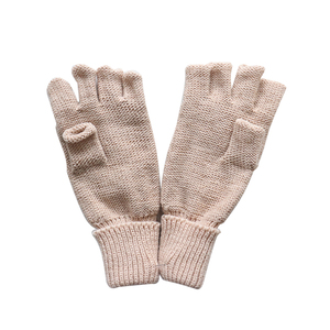 Fashion pink half finger knitting winter gloves for woman